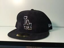 New Era 59 MLB Los Angeles Dodgers LA Cap - Black Suede White Logo - Sz 7 1/4