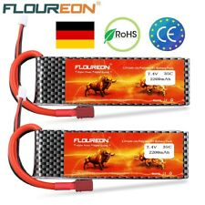 2X FLOUREON RC Akku LiPo Batterie T-Stecker for RC AUTO LKW 2S 7.4V 2200mAh 35C