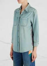 SANDRINE ROSE THE VINTAGE LIGHT BLUE DENIM EMBROIDERED SHIRT SMALL