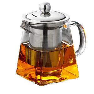 Glass Teapot Teaset Drinkware Stainless Steel Infuser Lid Loose Leaf Tea Cooffee