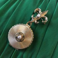 Gold Tone Fleur De Lis Brooch Vintage Pegasus Coro Signed 4 Photos Locket