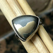 Genuine Pyrite in Magnetite 925 Solid Sterling Silver Solitaire Ring sz 5.75