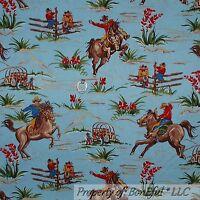 BonEful Fabric FQ Cotton Quilt Blue Brown Horse Scenic Western Wagon Flower Boy