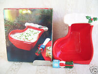 Vintage Giftco Ceramic Christmas Stocking Bowl & Spreader 2 Piece Set New In Box
