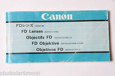 Canon FD Prime Lens Instruction Manual Book English Ja De Fr Esp - USED M8