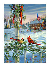 "WINTERS DAY Patriotic CHRISTMAS Holiday Snow Scene 29"" x 43"" Large Banner Flag"