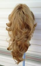 dark blonde wavy curly claw clip in long pony tail hair extension piece new