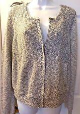 New Women's BANANA REPUBLIC Sweater Coat Jacket Military Blue Silver White Sz XL