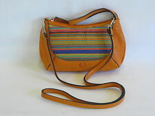 BORN Vintage Orange Leather/Multi-Color Wool Accent Cross Body / Wristlet - NEW!