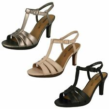 Ladies Clarks Leather Slingback Heel Smart Sandals Adriel Tevis Black UK 6.5 D