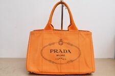 Prada Canapa Canvas Tote Bag in Papaine Orange Used Authentic