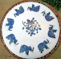 """24"""" White Marble Round Coffee Table Top Lapis Elephant Inlay Design Decor E1221"""