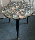 """Mid Century Modern Lucite Abalone Resin Side Table 18"""" Round"""