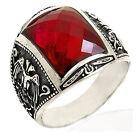ANELLO TURCO stile anello uomo TURCO PIETRE ROSSO AQUILA argento sterling TG 20