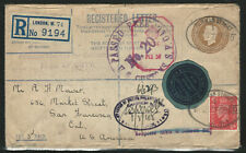 Great Britain, 1945 Registered Cover, Customs Markings & Many Postal Markings