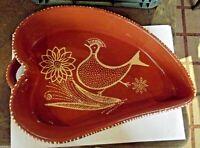 Ancien Plat Décor Coq forme Feuille, poterie vernissé Souvenir de Vacance