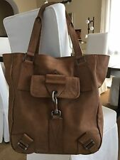 CHRISTIAN DIOR Brown Leather Tote Shoulder Shopper Bag with Buckle