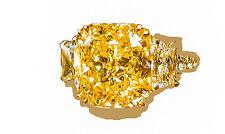 GIA FANCY YELLOW SI1 CUSHION DIAMOND RING SET TRAPEZOID ENGAMENT RING