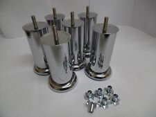 6x quality chrome legs for sofa settee chair foot stools (120mm X 50mm)