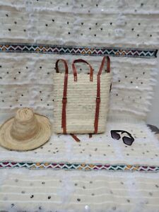 Moroccan straw backpack. Freanch backpack.  Moroccan beach bag.  Market basket
