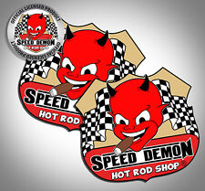 "Speed Demon Hot Rod Shop Vintage Style Cute Devil Route 66 3"" decals 2 stickers"