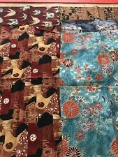 JAPANESE PRINT FABRIC ( LOT OF 5 ) THIRD YARDS 12 INCHES WIDE
