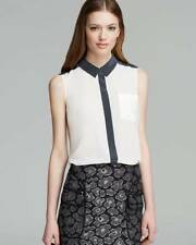 Marc Jacobs Antique White Gray Trim Frances S/L Silk Top $198 NWT M