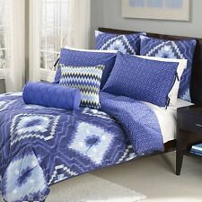 7-Pc Wild Olive Ikat Blue Modern Reversible KING Comforter Set Geometric Aztec