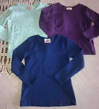 Hanna Andersson Girls 110 5-6 Lot of 3 Long Sleeve Shirts Purple Blue Striped