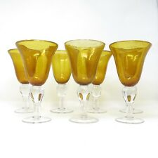 Artland Iris Amber Hand Blown Glass Goblets Bubbles Clear Ball Stem Set of 7