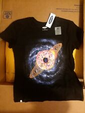 Tshirt XS Size 5 Childrens. Donut Space Design. Black.