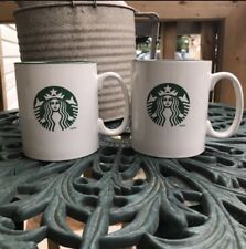 Starbucks Coffee Mugs Set Of 2 Green & White Logo 2012