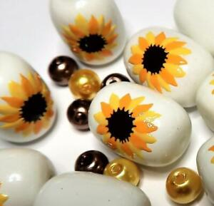 Flower Beads Jewelry Making Sunflower Beads Brown Botanical Flower 40 pcs