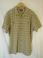 Patagonia Men's Back Step Short Sleeve Button Up Shirt Size XXL 2XL Tan Plaid
