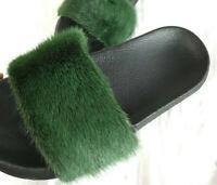 Real Mink Fur Sliders Slides Pom Pom Slippers Sandals Shoes PVC Sole - Green