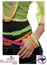 80s Neon Beaded Bracelets 4 Fluorescent colours 1980s accessory