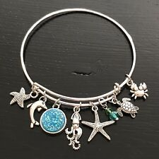OCEAN - STARFISH DOLPHIN SQUID TURTLE CRAB Silver Charm Bangle Bracelet NEW