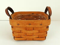 """LONGABERGER Basket '94 Leather Handles Handmade Ohio Liner 5"""" x 5"""" x 3"""" Signed"""