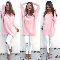 Women Celebs V-Neck Chunky Knit Oversize Sweater Sweatshirt Jumper Dress UK 6-16