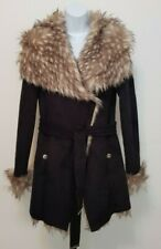 BNWT Lipsy Black Jacket Luxury Bond Fur Belted Coat UK 12 Eur 40