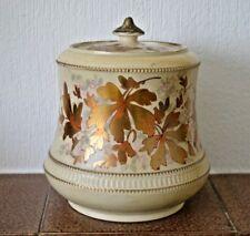 Rare Crown Devon SF & Co biscuit barrel with Golden Leaf pattern