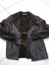 Ladies M&S mocha furry faux sheepskin suede JACKET size UK 10 8 1960s retro coat