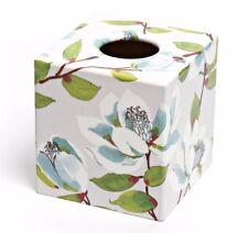 Blue Magnolia Tissue Box Cover Holder wooden handmade