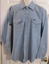 WRANGLER Mens XL-XXL Pearl Snap Blue Chambray Button Up Long Sleeve Shirt