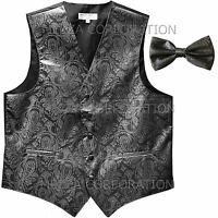 New Men/'s paisley formal Tuxedo Vest Waistcoat/_Free Style Self-tie Bowtie Black