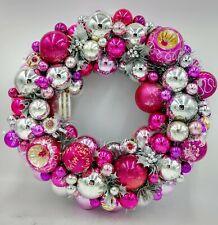 Pink & Silver Vintage Sparkle Christmas Ornament Wreath