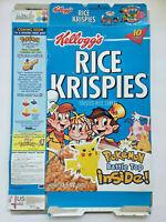 KELLOGG'S RICE KRISPIES EMPTY CEREAL BOX POKEMON BATTLE TOP 2000