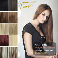 NEW AAA Grade clip in real human hair extensions black brown blond red full head