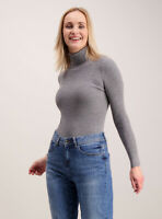 L/XL WOMENS LADIES RIBBED POLO NECK JUMPER TURTLE ROLLNECK FULL SLEEVE PLAIN TOP