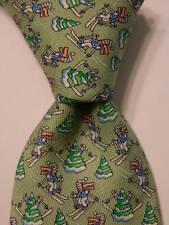 VINEYARD VINES Martha's Boys Youth Silk Necktie Luxury SKIING Green/White EUC